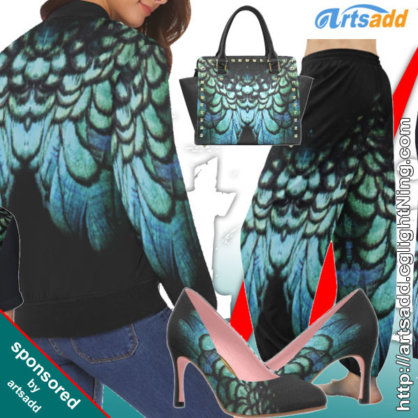 artsadd - blue feathered peacock wings
